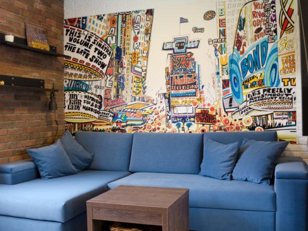 moderní designová tapeta s motivem kresleného new yourku