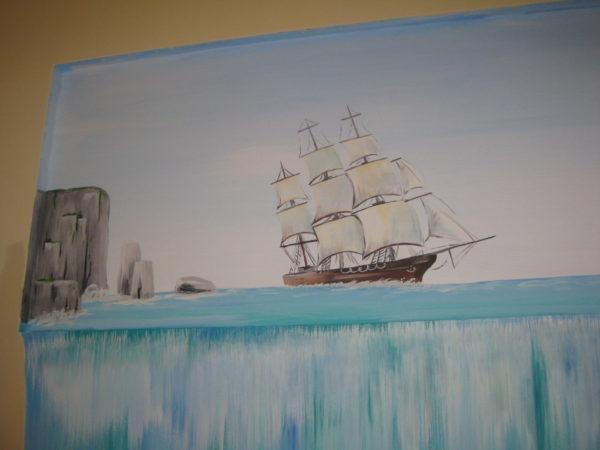 realizace nástěnné malby s vodopádem